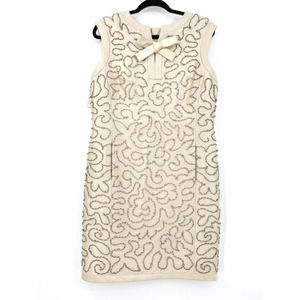 Jean Lutece Vintage Shift Dress Beaded Soutache